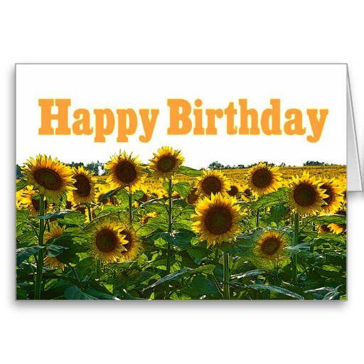 Happy Birthday Sunflower Field Card   Zazzle.com ...