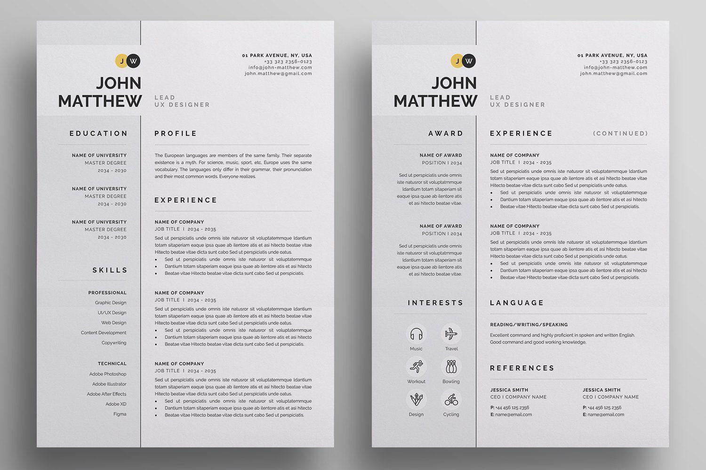 Resume Cv Unique Resume Template Letterhead Design Resume Cv