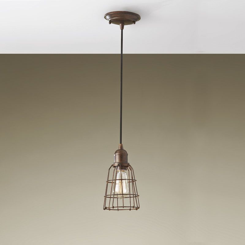 andy thornton lighting. Industrial Pendant In Bronze Finish With Wire Frame | Lighting Andy Thornton