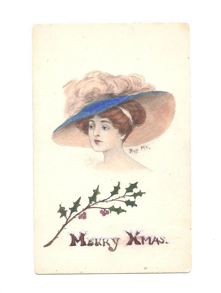 Vintage Merry Christmas Beauty Wears Large Hat Signed Roy Mo Postcard