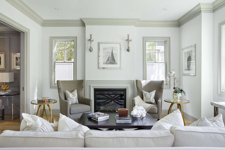 White Walls With Gray Crown Moldings Transitional Living Room