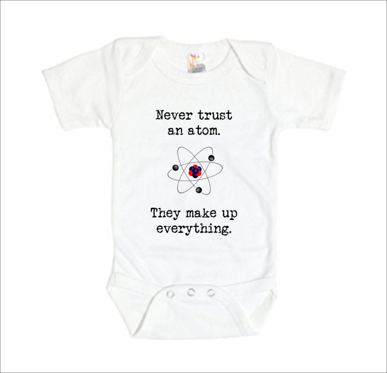b970f42ca Science Baby Clothes, Chemistry Baby Clothes, Never Trust An Atom, They  Make Up Everything, Nerd Baby Girl Nerdy Baby Gift Geek Baby Clothes by ...