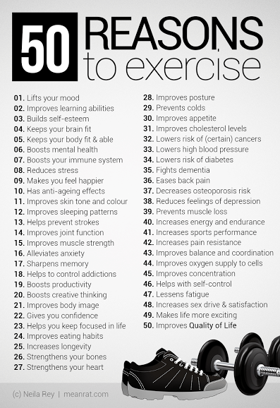 Need a reason to exercise?  Here's 50! Free 6 Day Quick Start Weight Loss Guide at http://www.homefitnesstribe.com ...fitness and nutrition tips to get you started right!