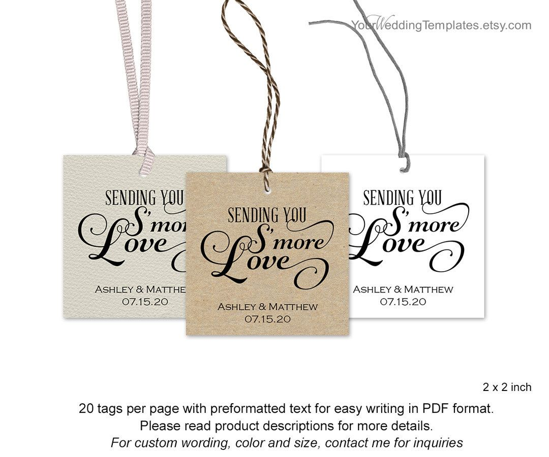 smore tags thank you tags wedding smore love tag diy template you