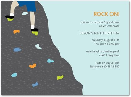 Download Now FREE Template Rock Climbing Birthday Party Invitations