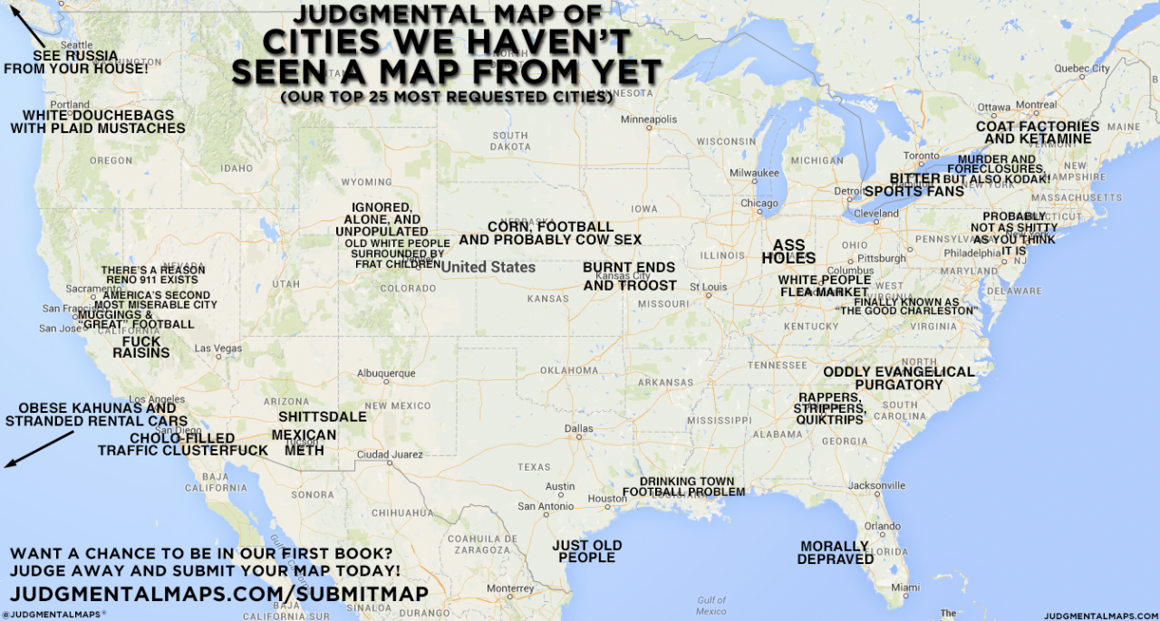 Judgmental Map of Cities We Haven\'t Seen A Map From Yet Want a ...