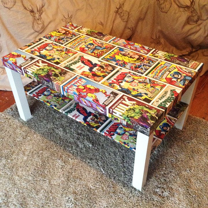 Im sure my husband would love this table decoupaged with comic