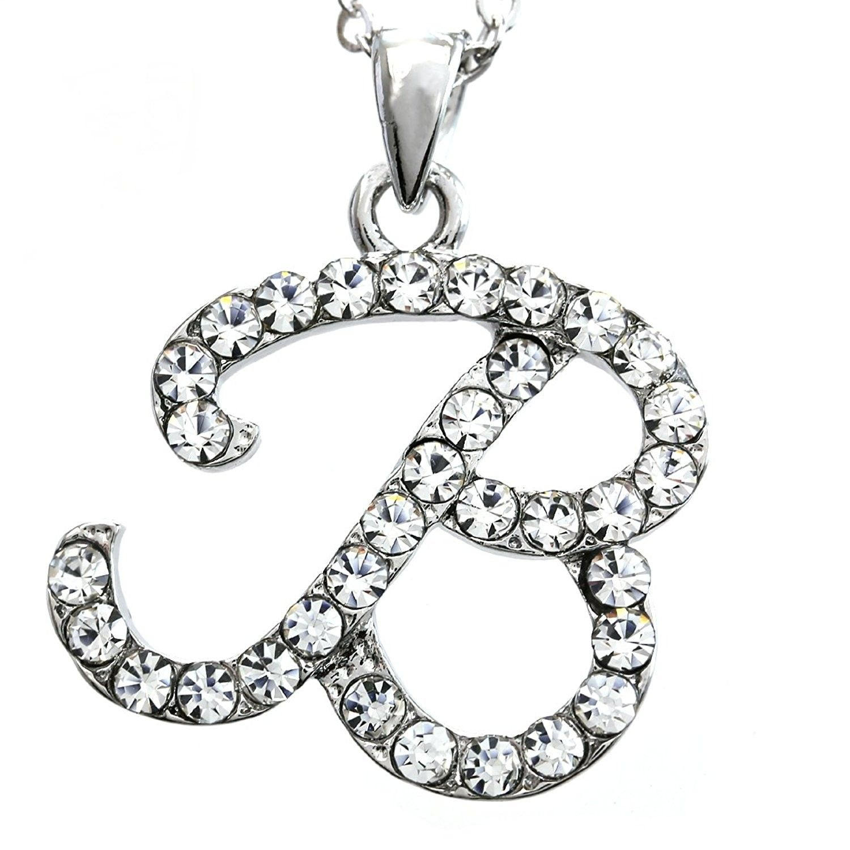 Initial letter pendant necklace charm ladies teens women fashion