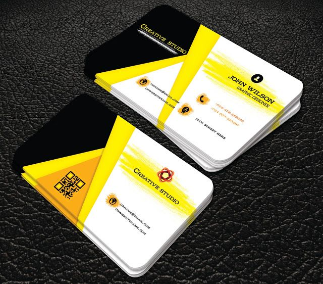 Yellow colour creative business cards professional business card yellow colour creative business cards professional business card reheart Image collections