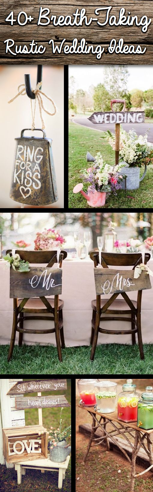 Diy rustic wedding decor ideas  Shine On Your Wedding Day With These BreathTaking Rustic Wedding