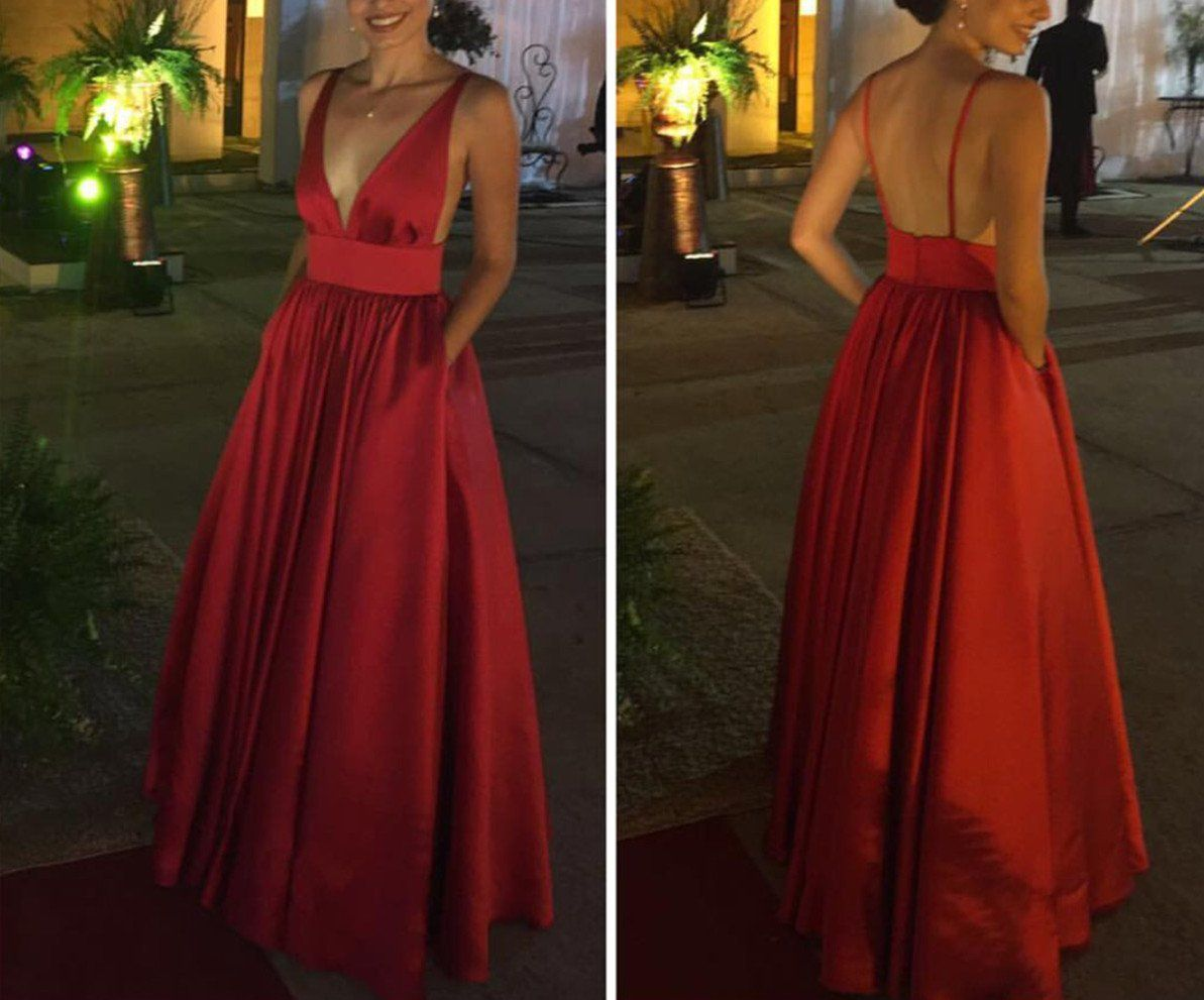 Red satin backless long v neckline formal gowns red sexy prom