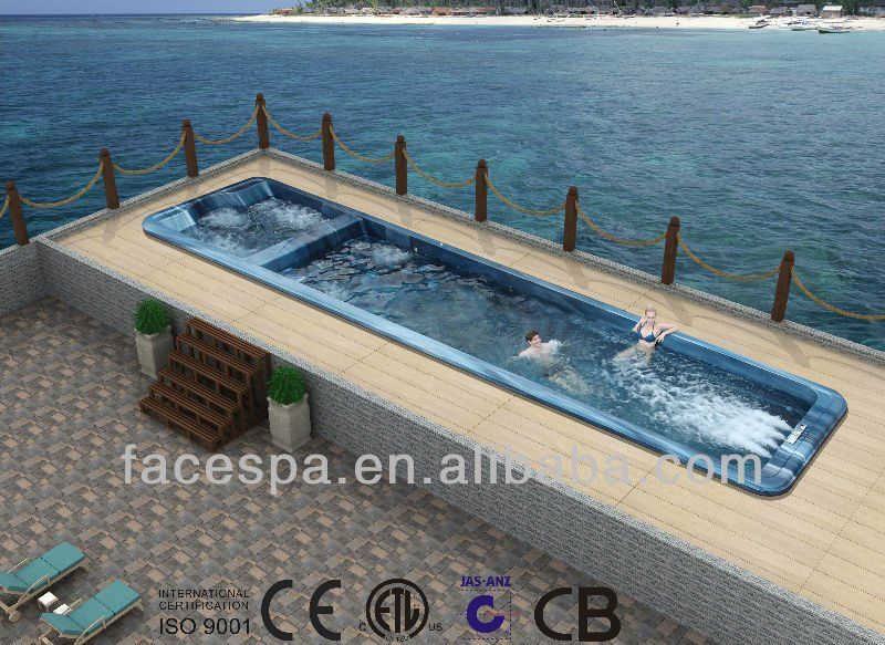 Endless pool 10 meter long fiberglass swimming pool fs s10 manufacturing swim spas pinterest for How many meters is a swimming pool