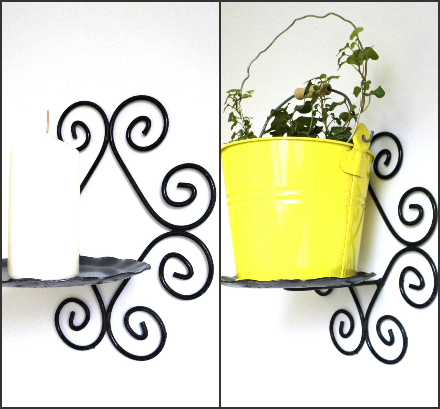 Vintage Rustic Wall Metal Planter Holder Plant Pot Candle Sconce Black Cast Iron Hanging Mounted Rusty Pocket Metal Planters Rustic Candle Sconce Rustic Walls