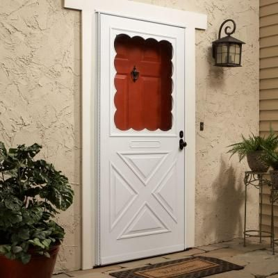 Red front door with white screen door on pale yellow house with white trim. & Storm doors: EMCO 200 Series White Aluminum Traditional Storm Door ... pezcame.com