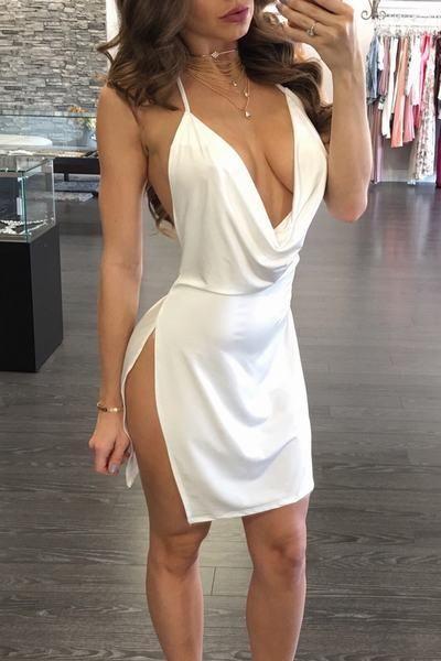 Plain Spaghetti Strap Sleeveless Short Dress #shortbacklessdress