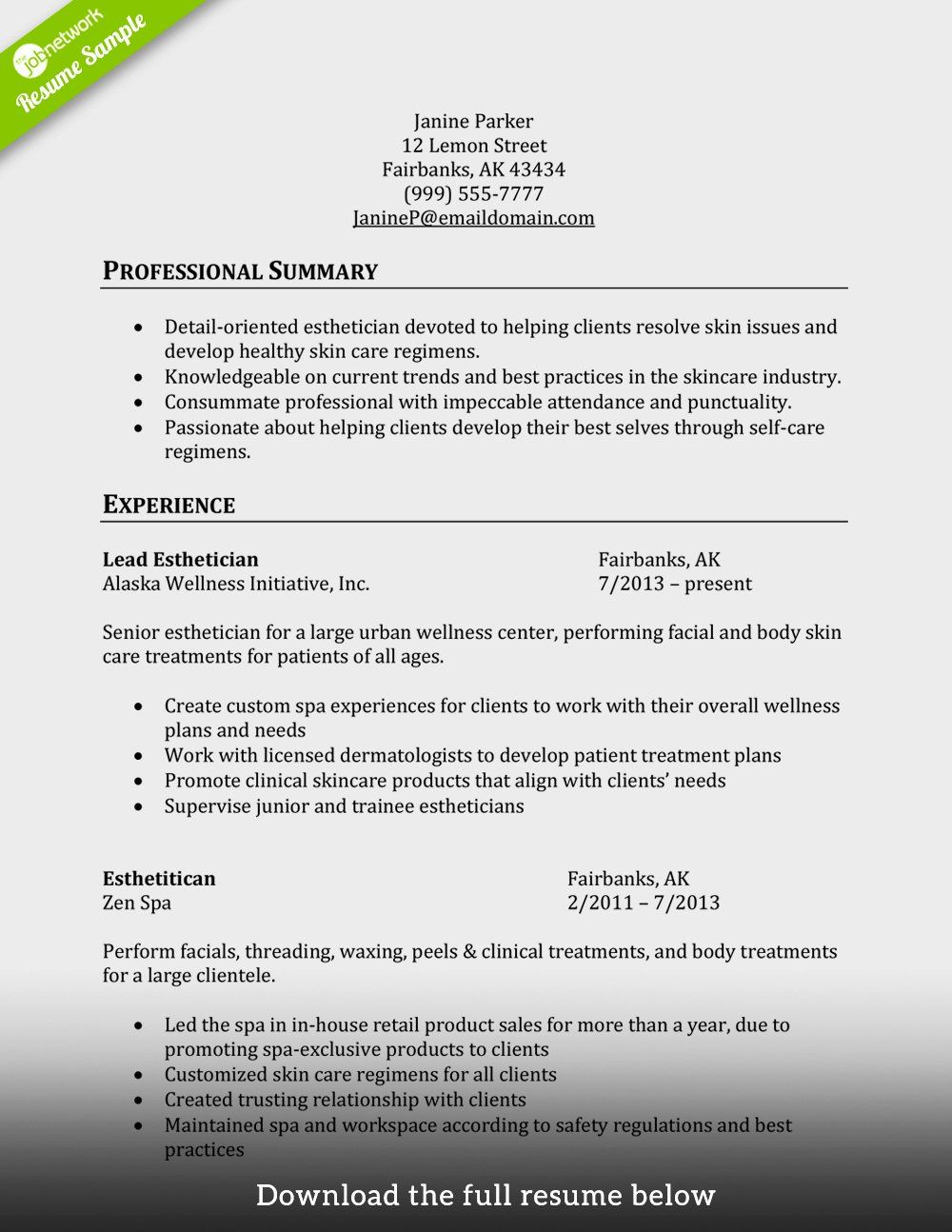 Entry Level Esthetician Resume Luxury 50 Lovely Entry