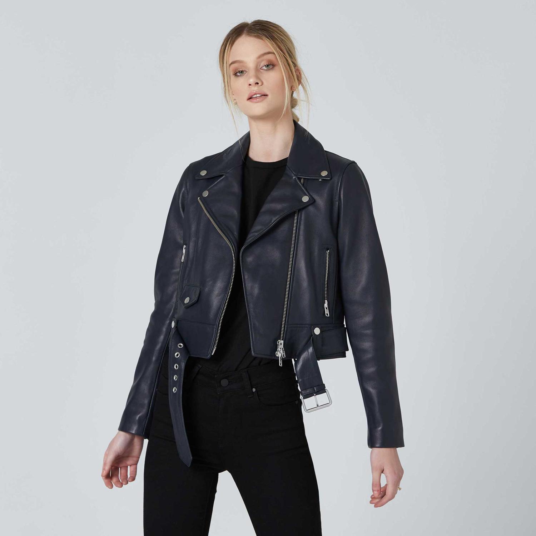 Leather Biker Jacket In Blue Leather Jacket Womens Leather Biker Jacket Leather Jackets Women [ 1500 x 1500 Pixel ]
