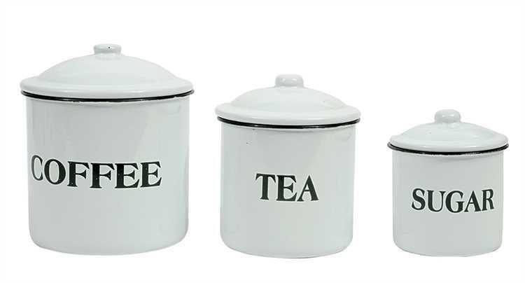 Set Of 3 Enameled Metal Coffee Tea Sugar Containers