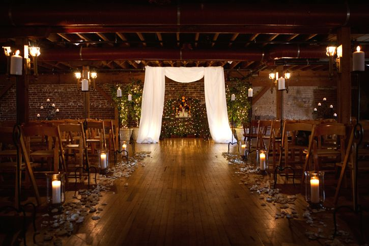 Elegant Drapery At Indoor Ceremony: Indoor, But Outdoorsy. Great Site For Wedding Ideas & This