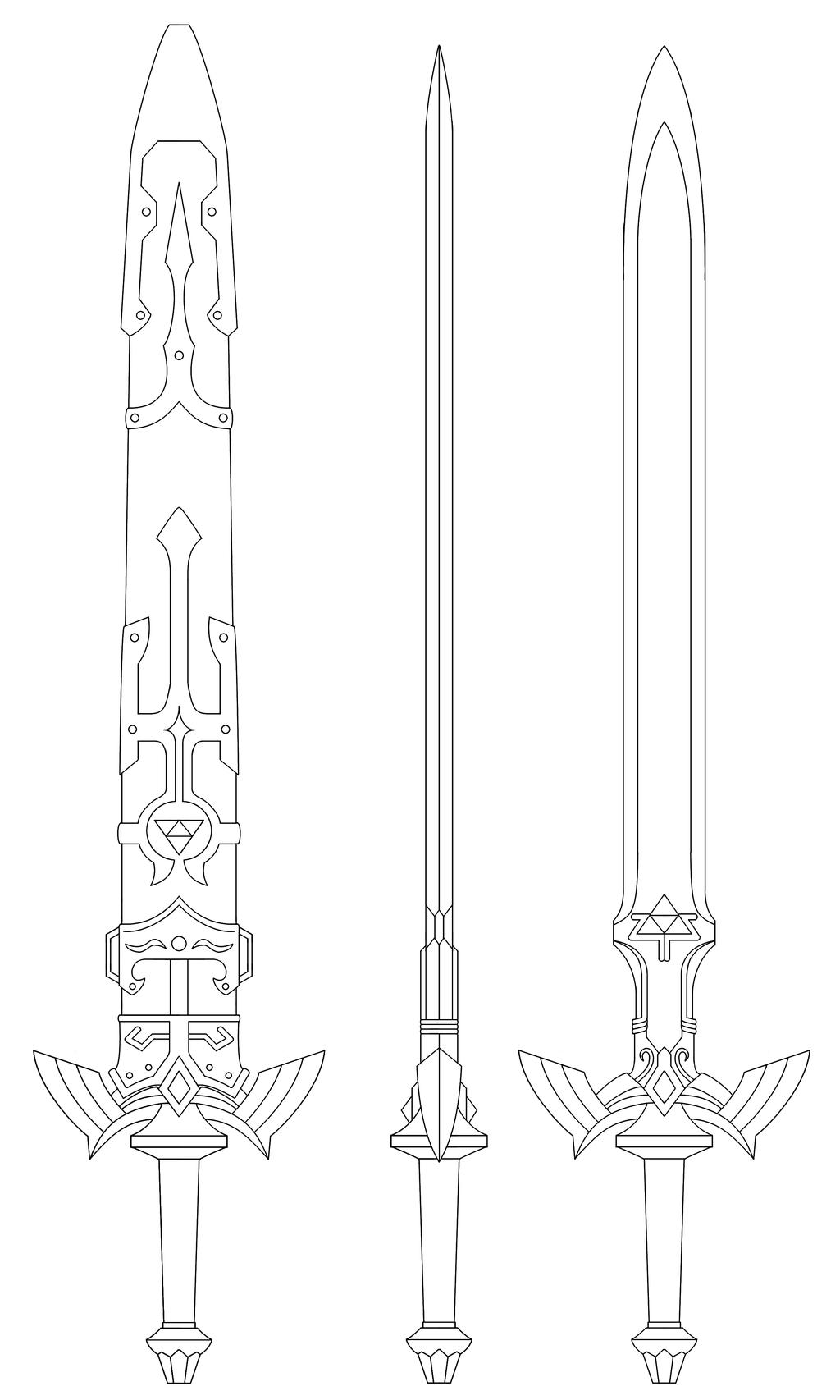 Zelda twilight princess coloring pages - Master Sword Blueprint Twilight Princess By Fridator