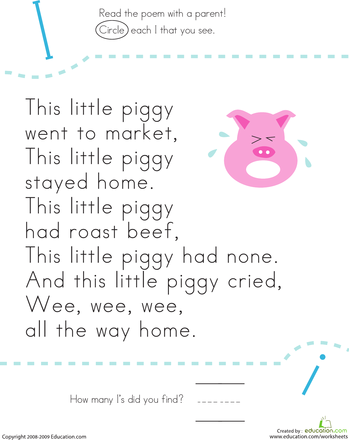 Find the Letter I: This Little Piggy | Interactive Writing, Charts