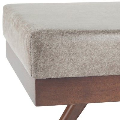 Super Nadine Mid Century Ottoman Bench Distressed Gray Taupe Creativecarmelina Interior Chair Design Creativecarmelinacom