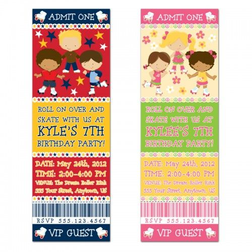Roller Skating Party Ticket Invitations-Personalized Invites