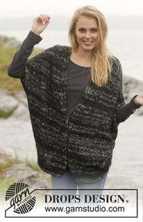 """4e82e09563057c Graphite - Knitted DROPS jacket in """"Fabel"""" and """"Vivaldi"""". Size: S - XXXL. -  Free pattern by DROPS Design"""