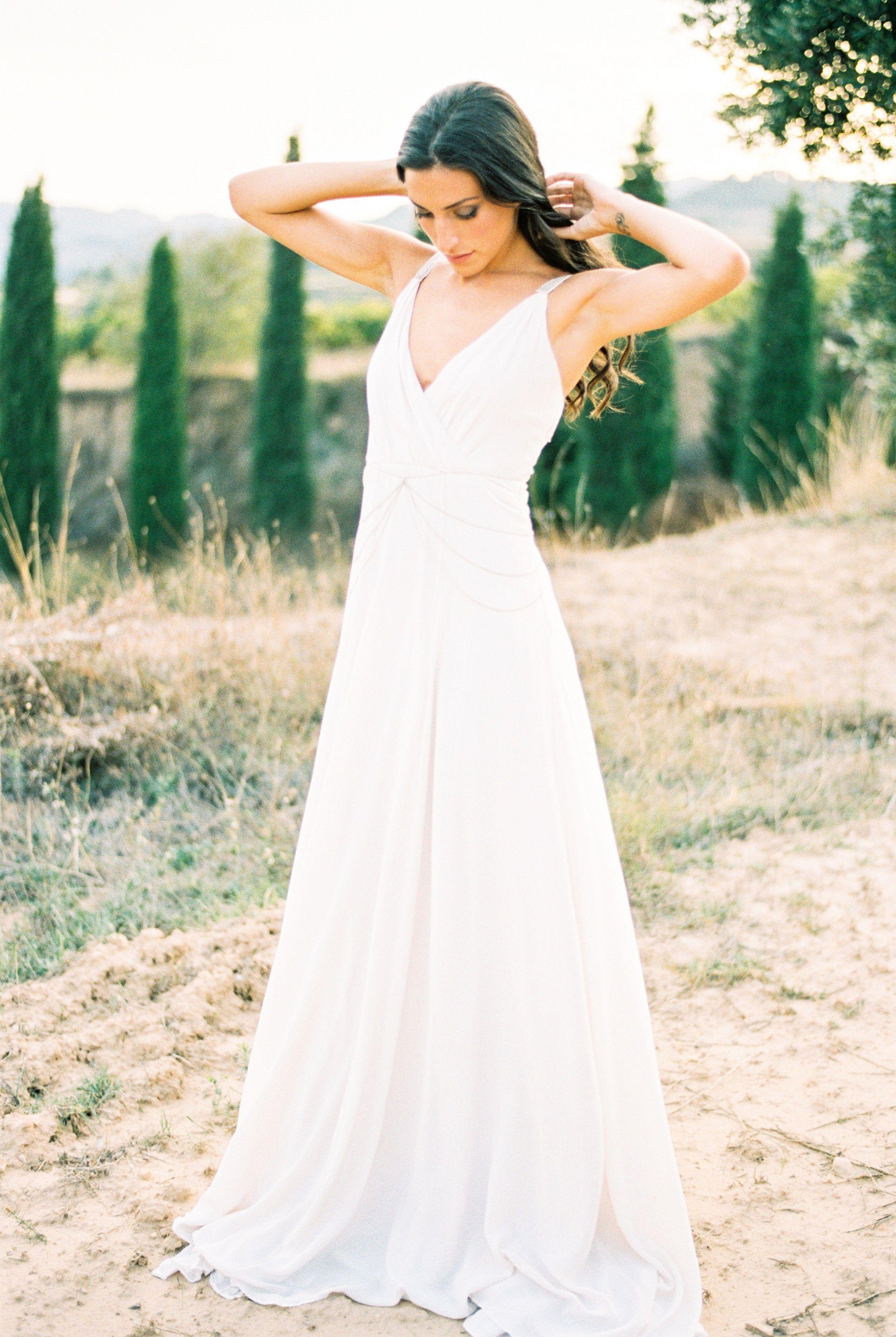 Lilliana wedding dress. Blush. Low back. No back. Chain straps ...