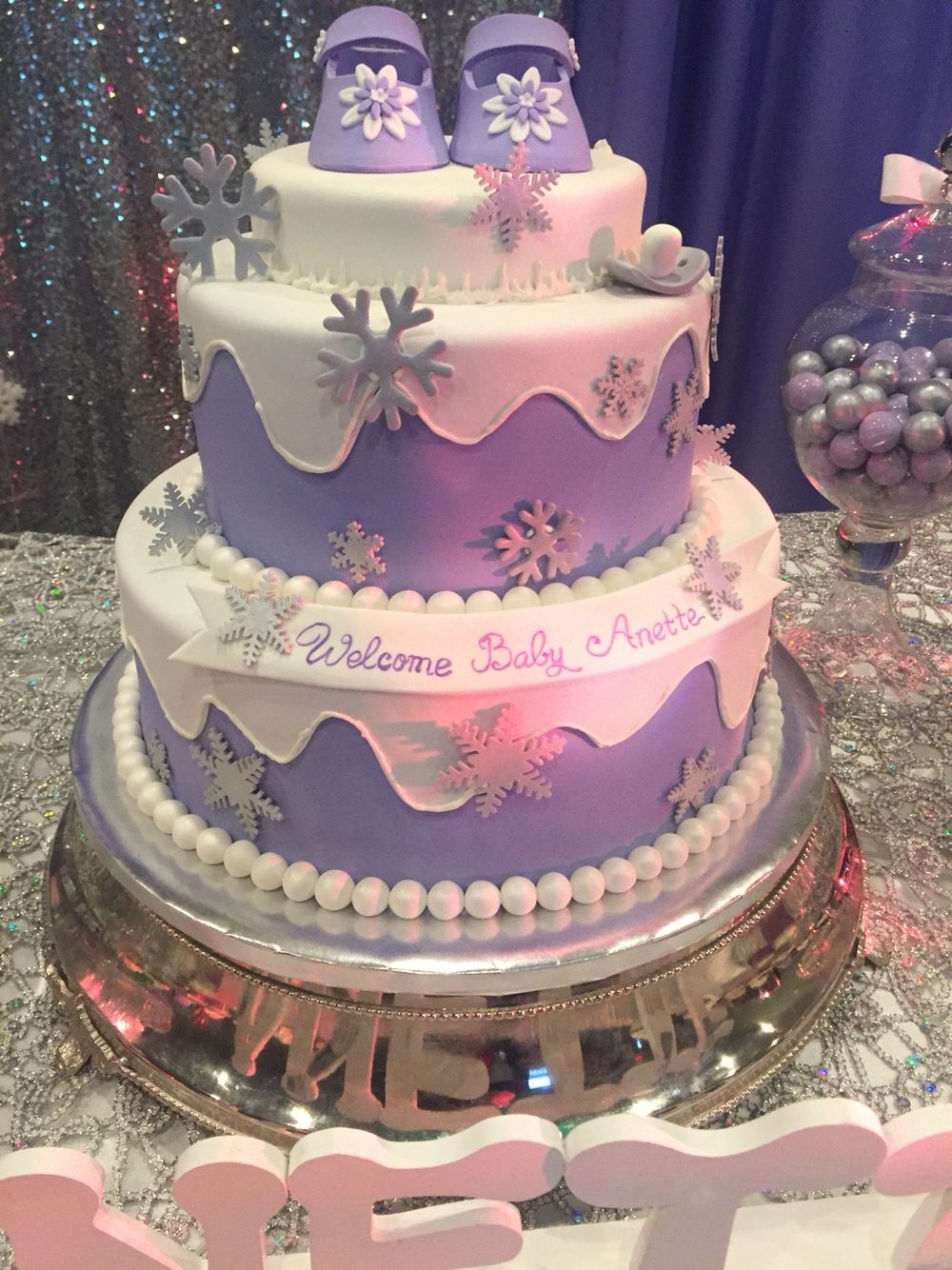 Purple snowflake winter wonderland baby shower cake