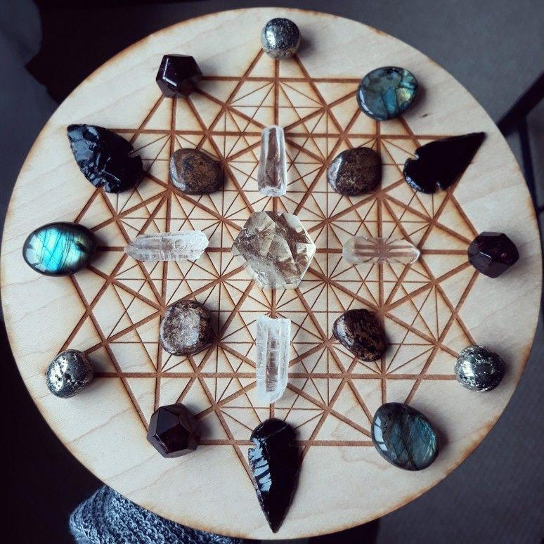 Labradorite Crystal grid Labradorite, black obsidian, quartz, garnet crystal grid by Ethan Lazzerini