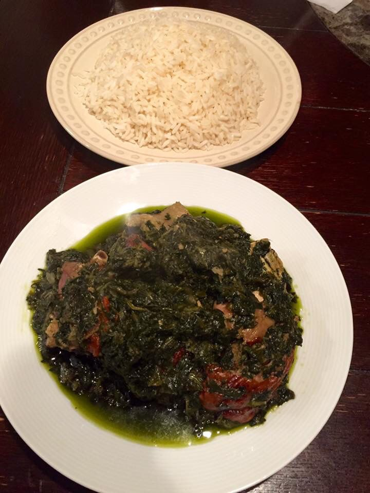 liberian home cooked meal : fry greens, mixed with fry fish