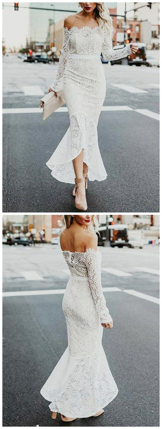 Long sleeve ivory wedding dress  Sexy Lace Offtheshoulder Neckline Hilo Mermaid Wedding Dresses