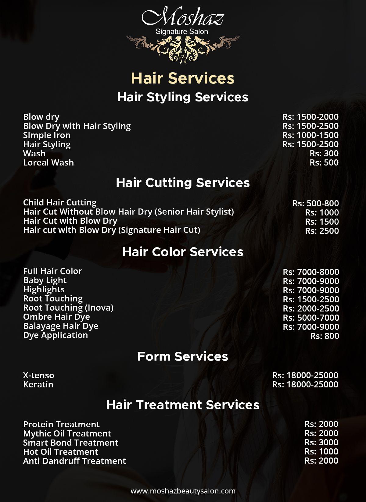 Beauty Salon Rate List For Hair Hair Salon Salons Beauty Salon