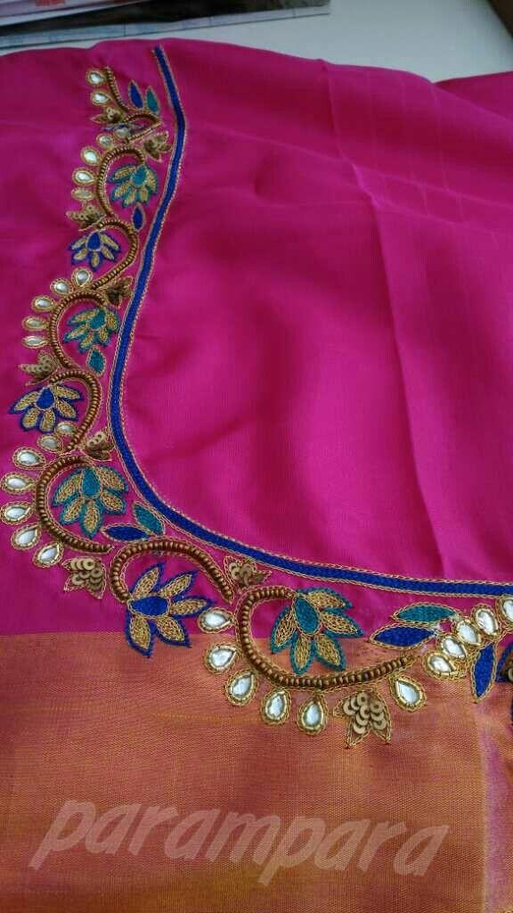 Simple Blouse Designs With Work:  Saree blouse designs Kurti rh:pinterest.com,Design