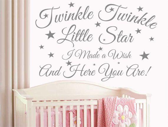 Baby Wall Sticker Quote  Twinkle Twinkle Stars Child Nursery