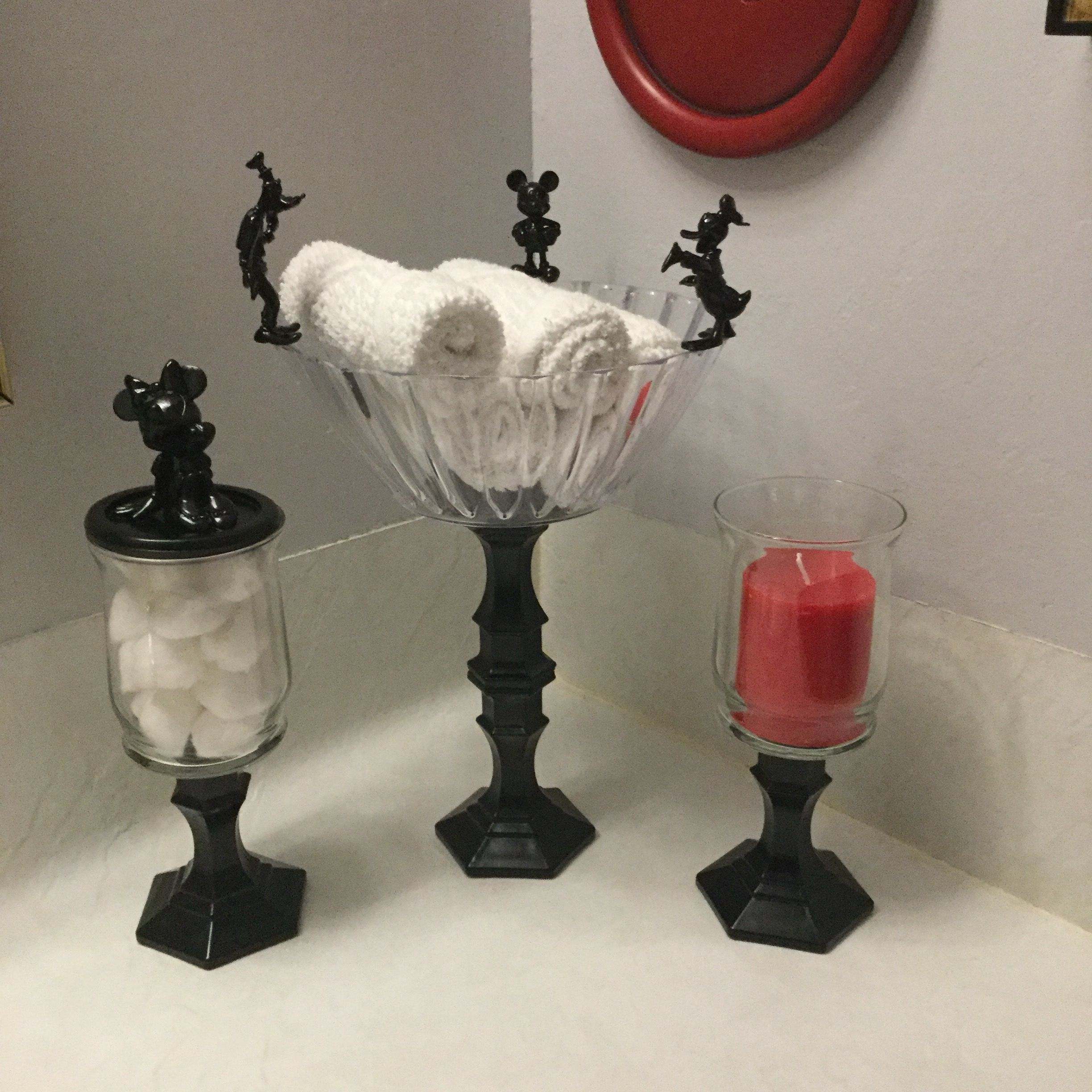 Made with dollar tree glasses candle holders and vases for Bathroom decor dollar tree