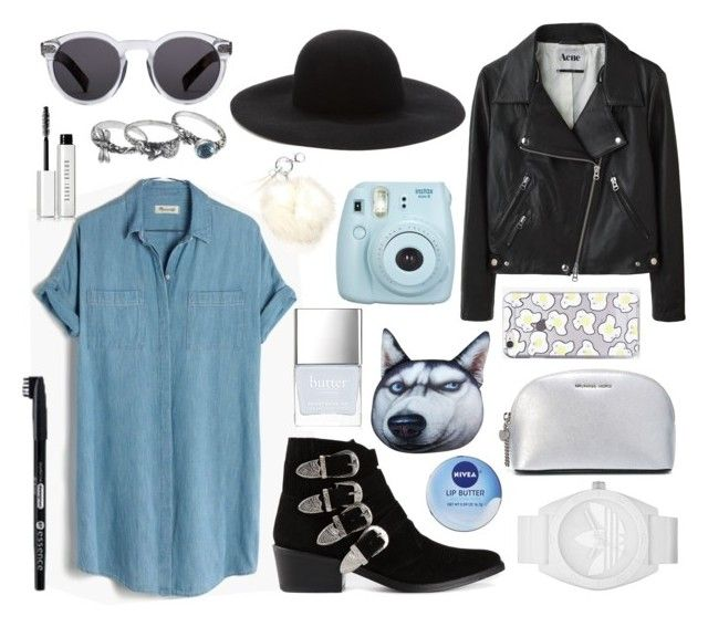 """""""Untitled #14"""" by juliamendesj ❤ liked on Polyvore featuring Madewell, Acne Studios, Toga, NOVICA, Forever 21, Bobbi Brown Cosmetics, WithChic, MICHAEL Michael Kors, Skinnydip and adidas"""