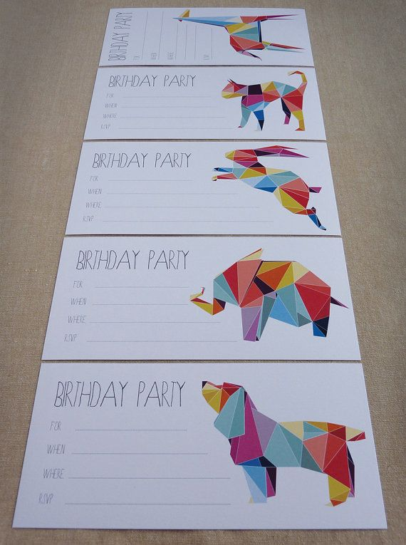 Birthday Party Invitations, Children's invites, Animal Invitations, Set of 10
