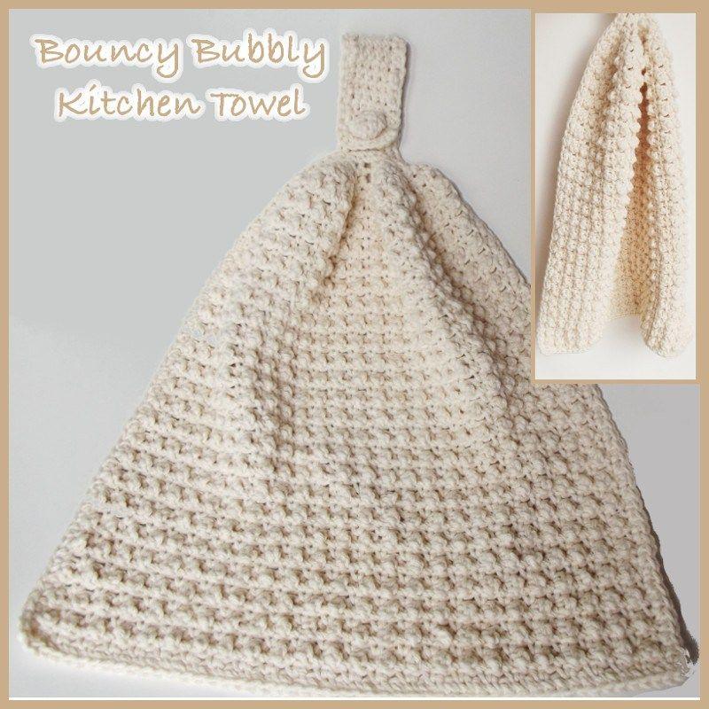 Bouncy Bubbly Kitchen Hand Towel Free Crochet Pattern Crochet