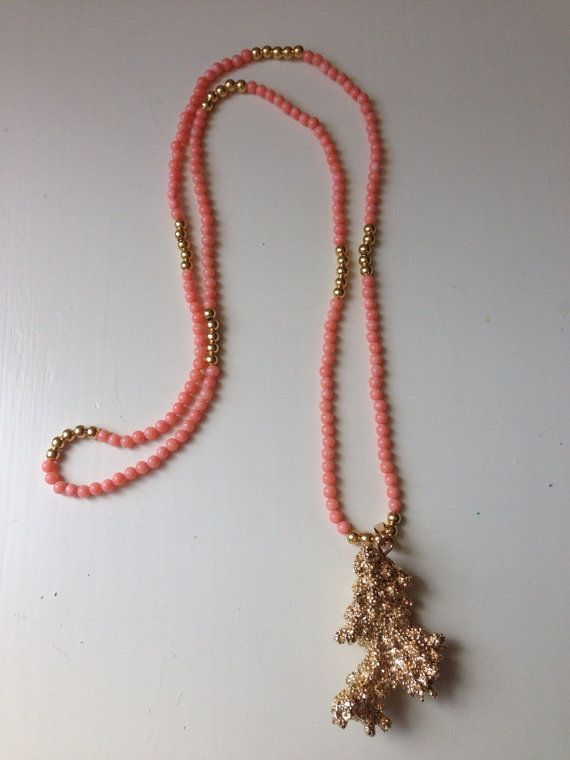Genuine Piece of Coral Dipped in 24k Gold on a by BeadJunkie1