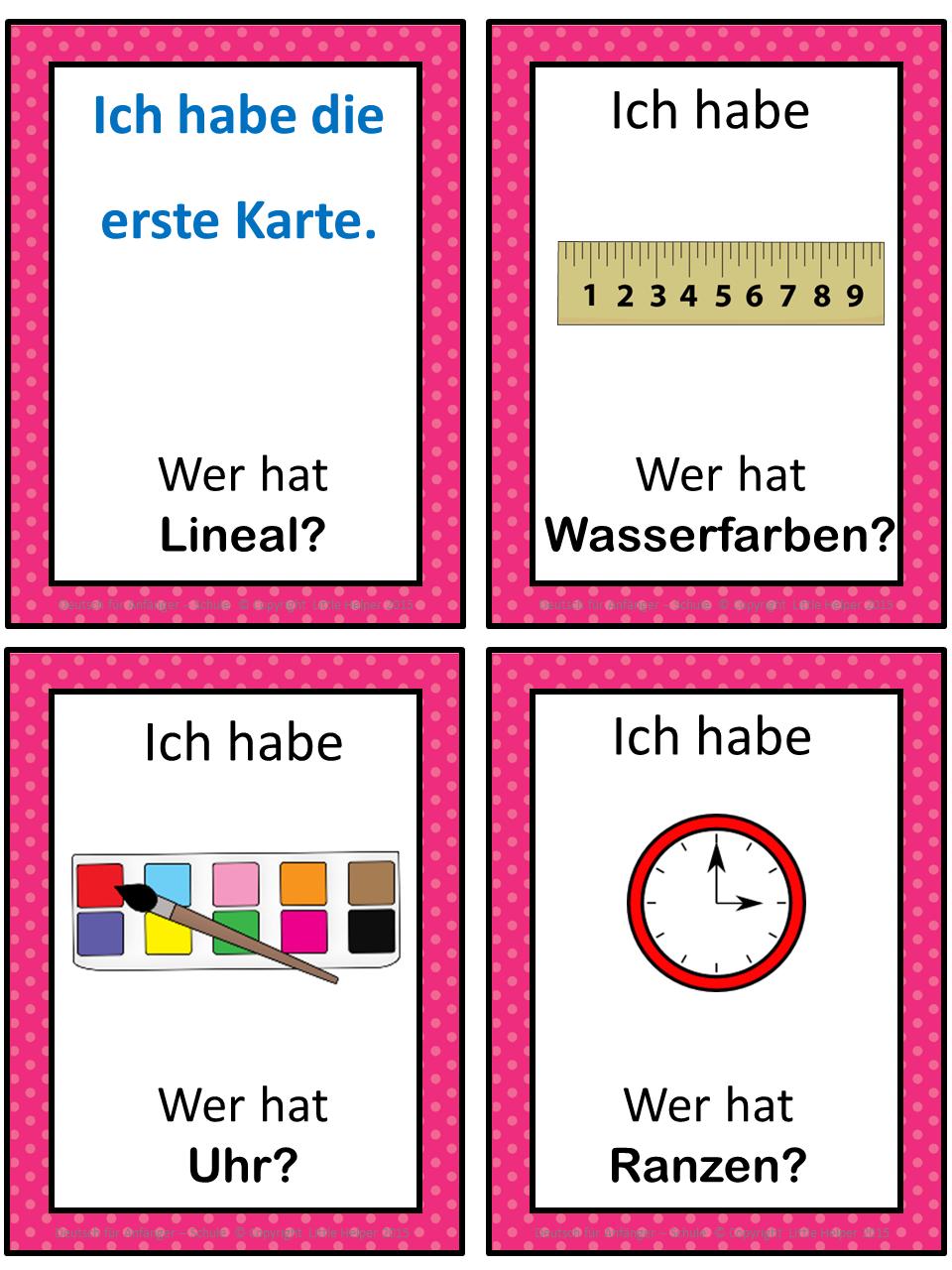 German School Words Ich Habe Wer Hat Game School Word Foreign Language Learning Learn German