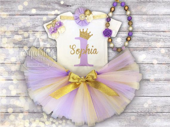First Birthday Girl Outfit Purple and Gold Birthday Outfit
