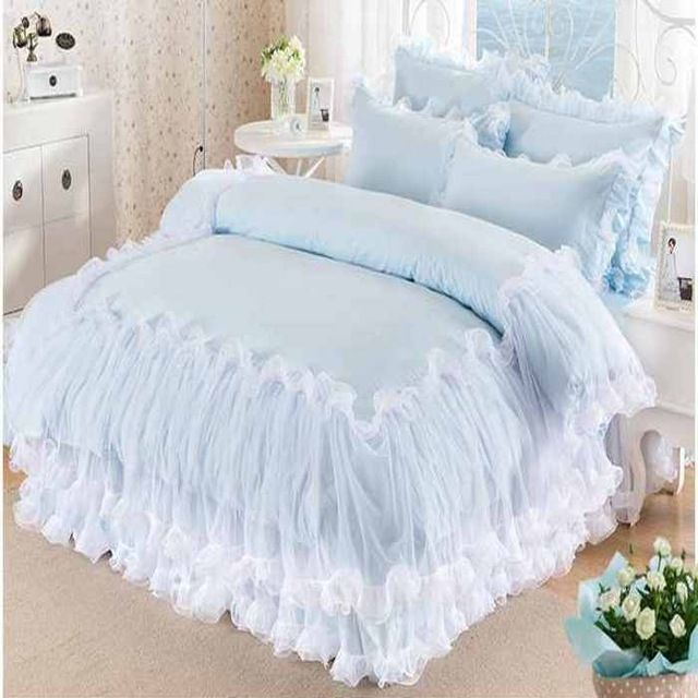 69927d3f91 Solid Color Lace Bedding Set King Queen Size 100% Cotton 4pcs Princess  Bedspread Bed Set Girls Quilt Cover Bed Sheet Pillowcases