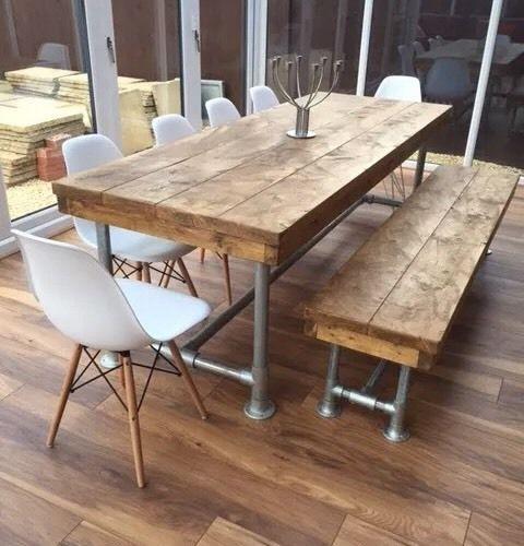 Urban Industrial Rustic Reclaimed Scaffold Board Dining Table Fair Restaurant Dining Room Furniture Design Decoration