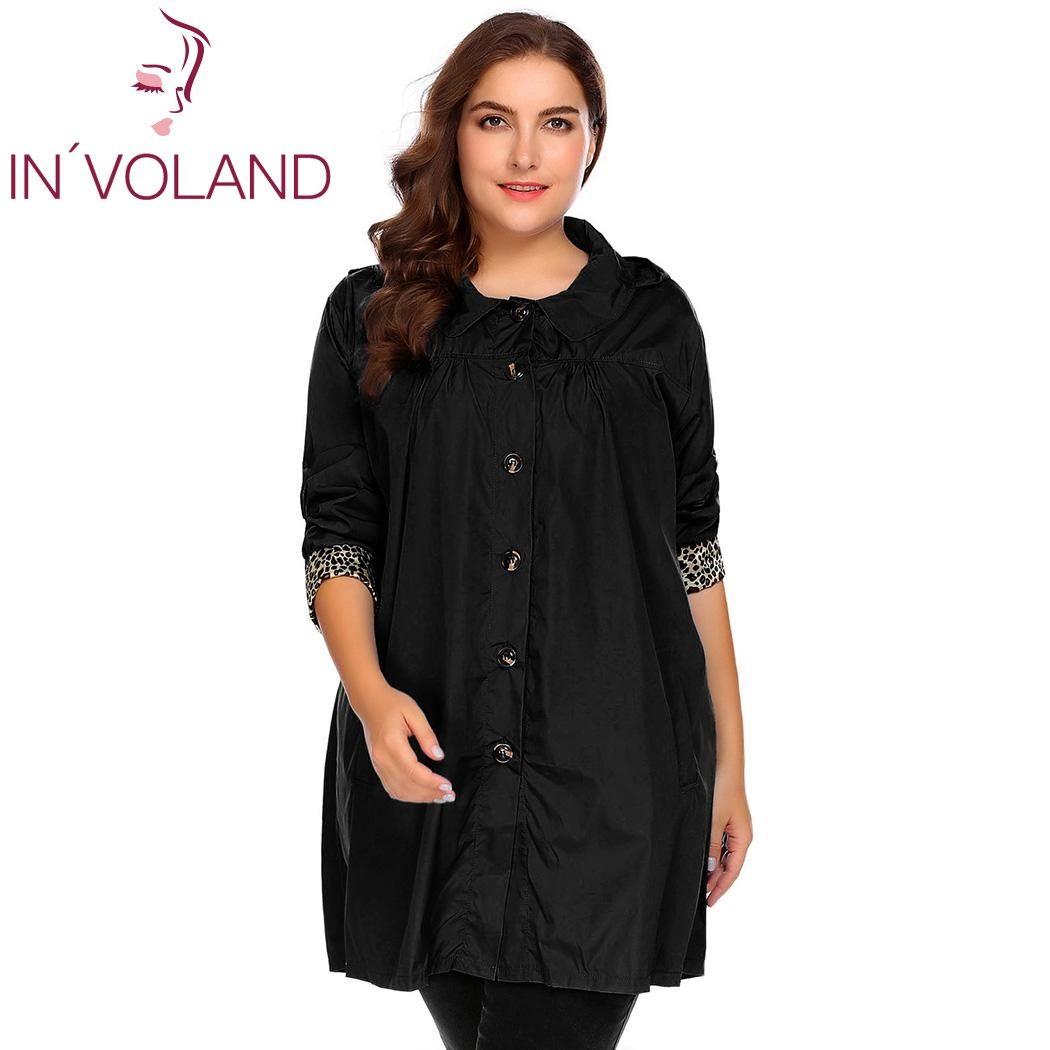 755c096baa1 IN VOLAND Large Size L-4XL Women Rain Coat Jacket Spring Autumn Plus ...