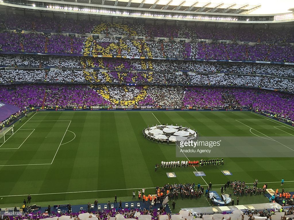 Real Madrid Fans Make A Mosaic Before The Uefa Champions League Real Madrid Uefa Champions League Santiago Bernabeu Stadium