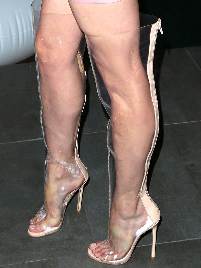 Jessica Sutta in sweaty and fogged-up clear thigh-high ...