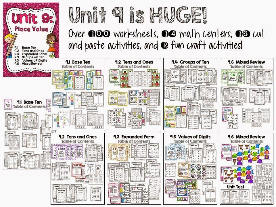 Huge place value unit with over 100 worksheets, 14 centers, 16 cut - place value unit