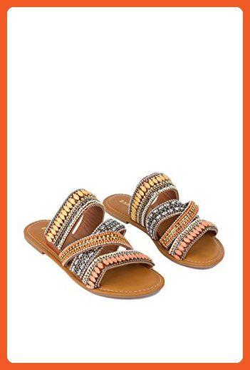 95d00293048ab4 AKIRA WAITED FOR SO LONG GLADIATOR EMBELLISHED SANDAL - TAN MULTI - 8.5 -  Sandals for women ( Amazon Partner-Link)